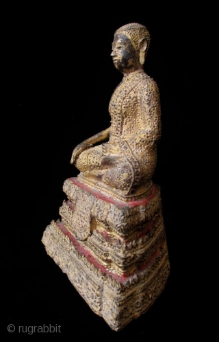 Antique Thai Seated Gilt Bronze Buddha