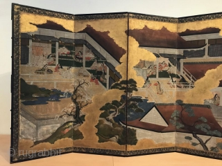 Antique Japanese Tale of Genji Screen - the Art of Seduction