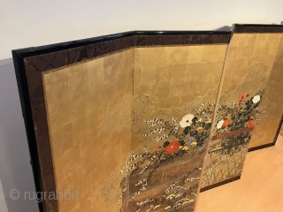 Incredible 18th Century Japanese Screen - View From the Garden  A truly stunning Japanese six panel screen hand painted with raised rimpa paint on gold ground leaf gofun paper. The subject matter is  ...