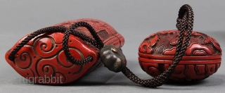Antique Carved Cinnabar Lacquer Inro w/Manju