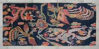 """No.CL008 * Tibetan Antique """"Dragon & Phoenix"""" Rug. Size:86x187cm(34""""x74""""). Age:19th Century. Origin:Tibet. Shape:Rectangle. Background Color:Blues ."""