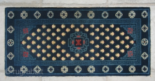 """No.P50 * Chinese Antique """"Footprint of the Frog"""" Rug , Age:19/20th Century. Size:54x113cm(21""""x44""""). Origin:Baotou-Suiyuan. Shape:Rectangle. Background Color:Blues."""