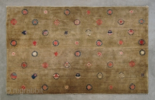 "No.CL018 * Chinese Antique ""Wonderful Happy Wheels"" Rug , Age: Mid-19th Century. Size: 122x198cm(4'x6'6"").Origin: Baotou-Suiyuan.Shape: Rectangle. Background Color: Yellows."