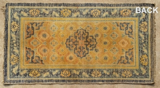 "No.A0044 * Chinese Ningxia Rugs. Age:18/19th Century.Size:69x128cm (27""x50""). All vegetable dyes. Origin: Ningxia Shape:Rectangle, Background Color: Yellows."