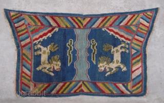 "No.A0056 * Tibet  ""Fo Dog"" Laddy Saddle Rug, Size:70x124cm(28""x49""). Origin:Tibet. Shape:Papilionaceous. Background Color:Blues. wool/wool"