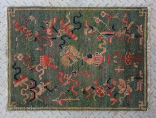 "No.R120 * Tibetan Antique ""Eight Treasure Pattern"" Rug/Mat.Size:57x71cm(22x28""). Origin: Tibet. Shape: Rectangle.Background Color: Greens.cotton/wool."