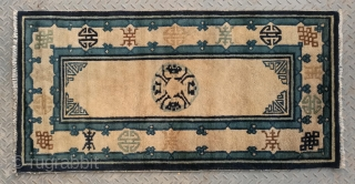 "No.X3169 * Chinese Antique Old Beijing Rug . Origin: Beijing. Shape: Rectangle Age:19th Century.Size: 71x139cm(28""x55"") . Background Color: Off-whites,lvory. All vegetable dyed. Good condition."