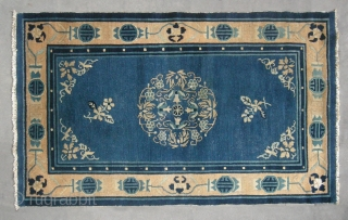 """No.D076 * Chinese """"Peking Rug"""" ,Origin: Beijing.Age: Early-20th Century .  Size: 93x151cm(3'1""""x5'). Shape: Rectangle. Background Color: Blues . Chinese Old Peking rug, This is an elegant old Peking carpet. The field contains a  ..."""