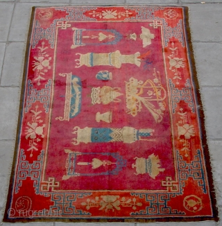 """No.R022 * Chinese Antique """"Vase Design"""" Rug,Age:19th Century.Size: 136x219cm(4'6""""x7'2"""").Origin: Baotou-Suiyuan.Shape: Rectangle.Background Color: Reds. This interesting carpet depicts the symbols of Hundred of Antiques: the incense burner, the teacup, the Ruyi (meaning wish come  ..."""