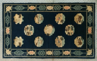 "No.L23 * Chinese Antique ""Mascots"" Rug .Shape: Rectangle.Age: Late-19th Century.Size:102x165cm(40""x65""). Origin: Baotou-Suiyuan. Background Color: Blues.