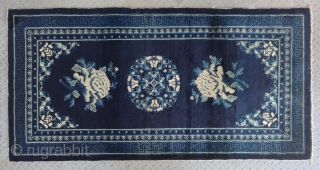 "No.R12 * Chinese Antique ""Peony Flower"" Rug ,Origin: Baotou.Age: 19th Century. Size: 94x182cm(37""x72""). This is a classic Baotou sleeping carpet from Inner Mongolian. A single central medallion of stylized flower design with  ..."