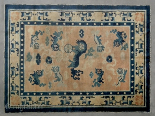"""No.CL001 * Chinese Antique """"Nine Fo-dogs"""" Ningxia Rug.Size: 135 x 180cm (4'5""""x5'11"""").Age: 18th Century. Origin: Ningxia.Background Color: The Wood Reds .Shape: Rectangle. In the centre field a sitting fo-dog is surrounded by  ..."""