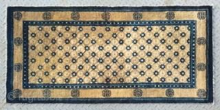 "No.A0001 * Chinese Antique  ""Chrysanthemum"" Rug ,19th Century.Size:66x136cm(26""x64""),Origin: Baotou-Suiyuan. Shape: Rectangle. Background Color: Camels."