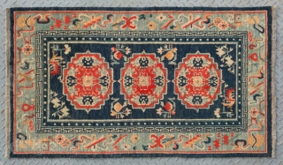 "No.X0015 * Tibetan Antique "" Medallion and Eight Treasure Pattern "" Rug , Age:19th Century.