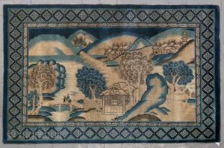 """No.D9098 * Chinese Antique """"Landscape"""" Rug .Age: 19th Century.  Size: 123x187cm(4'x6'2"""").Origin: Baotou-Suiyuan Shape: Rectangle.  Background Color: Camel Colors."""
