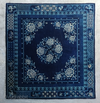 "No.R159 * Chinese Antique Rug ""Peony Flowers"", Age:19th Century.Size:163x177cm(5'4""x5'10""). Origin: Baotou-Suiyuan.Shape: Rectangle.Background Color: Blues"