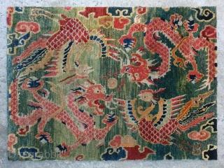 "No.CL057 * Tibetan "" Dragon & Phoenix"" Mat-Rugs. Age: 19th Century. Origin: Tibetan Shape: Rectangle. Size:60 x 83cm ( 24"" x 33"" ). Background Color: greens Colors. wool/wool."