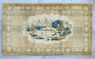 "No.CL062 * Chinese Antique ""Landscape"" Rug. Size:100x172cm(3'3""x5'7"").Age: 19th Century. Origin: Baotou-Suiyuan Shape: Rectangle. Background Color: Yellows."