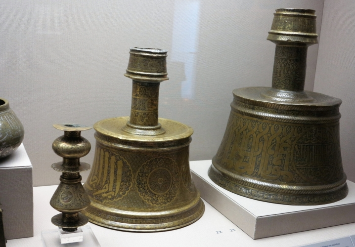 circa 14th century Islamic candle holders, Benaki Museum of Islamic Art, Athens